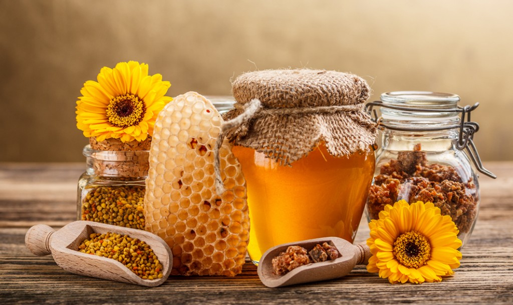 Still life with honey honeycomb pollen and propolis