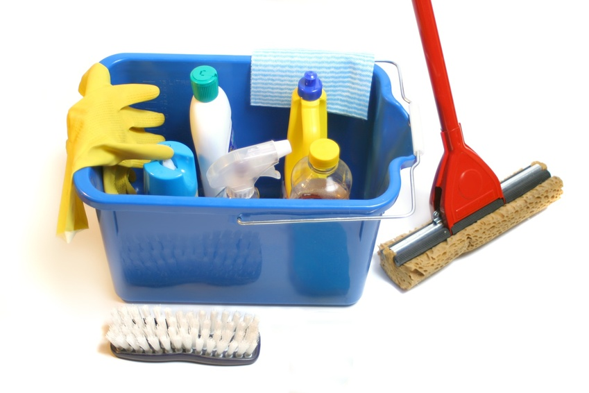 cleaning products inside bucket with gloves, mop, cloth and sponge