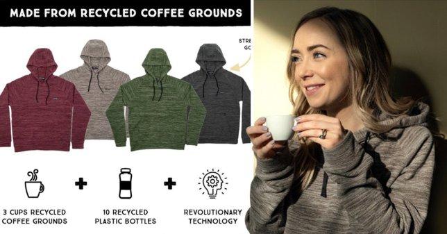 Bu sweatshirt'ler kahve telvesi ve pet şişeden üretiliyor